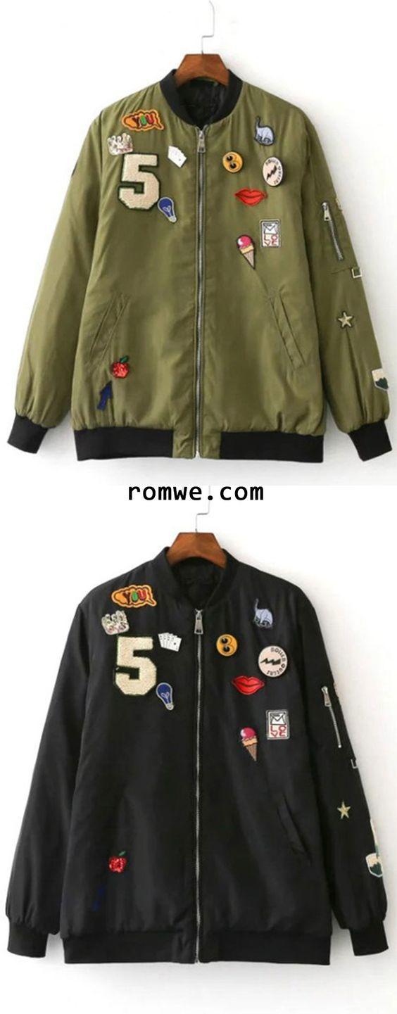 Army Green Crew Neck Applique Pocket Jacket: