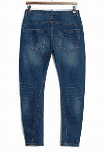 NQ Mens Fashion Slim Fit Tapered Cut Casual Long Pants Jeans XL Blue