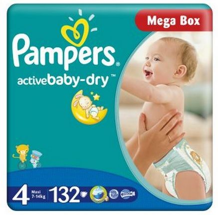 Scutece Pampers Mega Box 132 buc, 131 lei, link afiliat http://bit.ly/14lW7wi