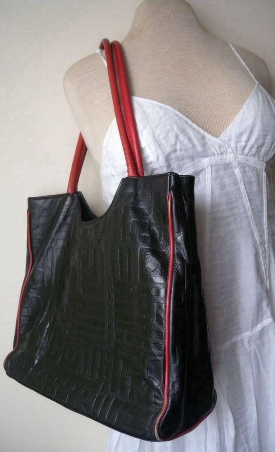prada shopping bag nylon - Due Fratelli Vintage Purse, Vintage Bag, Black and Red Leather ...
