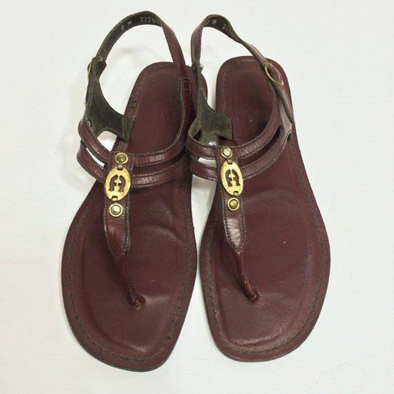 Vintage Etienne Aigner Leather Thong Strap Sandals Size 8