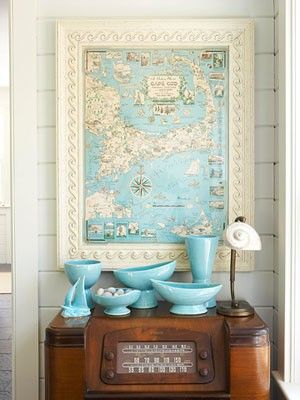 Turquoise pottery with vintage map.