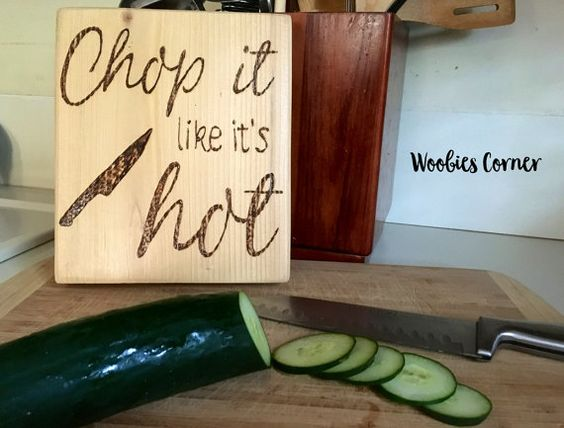Funny Kitchen signs, Chop it like it's hot, Kitchen sign wood, Kitchen sign decor, Rustic kitchen decor, Wooden kitchen sign, Kitchen sign