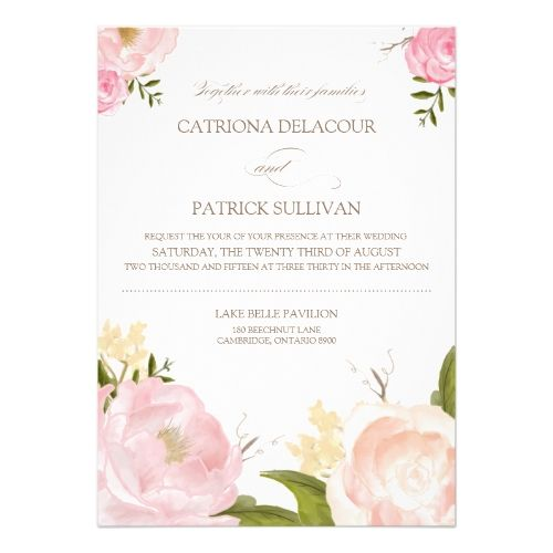 Watercolor Wedding Invitation Romantic Watercolor Flowers Wedding Invitation