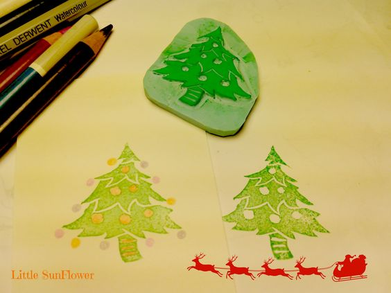 xmas tree sello cqrvada a mano http://littlesunflowerhandmade.blogspot.com.es/