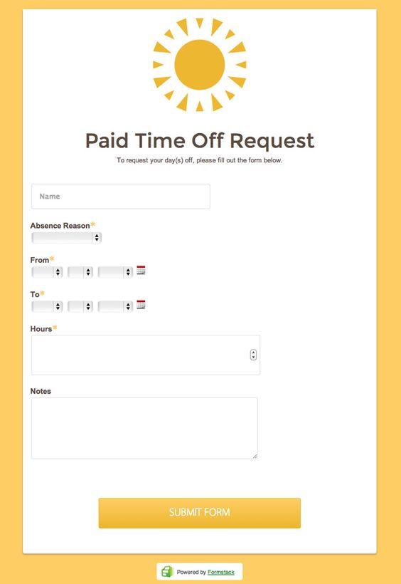 Collect PTO requests through an online form @Formstack Online - reimbursement request form