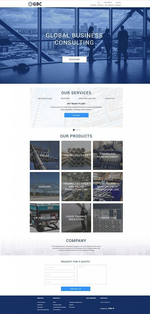 Modern Website Design For Building Companies Made With White And Blue Colors And Pictures Webdesign Des Modern Website Design Modern Web Design Web Design