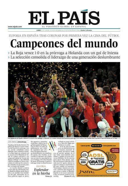 España gana el Mundial 2010. El País, Nacional, 12 julio 2010