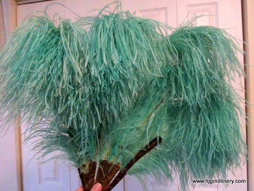 Antique Burlesque Dancing Aquamarine Weeping Ostrich Feather Fan,Faux Tortoise