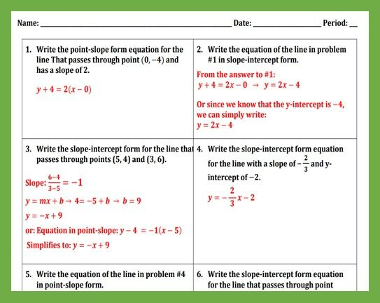 Writing The Equation Of A Line Worksheet I Writing Equations Point Slope Worksheets