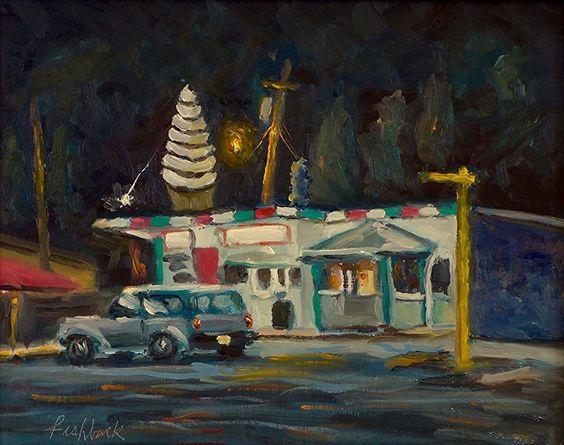 Dairy Isle Nocturne by Daniel Fishback Oil ~ 8 x 10
