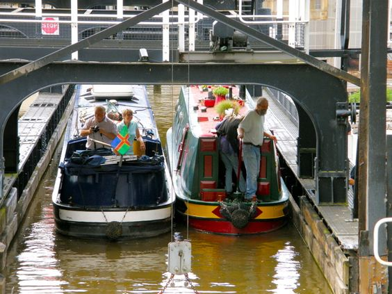 Happy boaters having just entered the Anderton Boat Lift. For more inspiration and ideas for your canal boat journeys this coming season visit www.thefitoutpontoon.co.uk your resource and directory for canal boat buying, planning & building