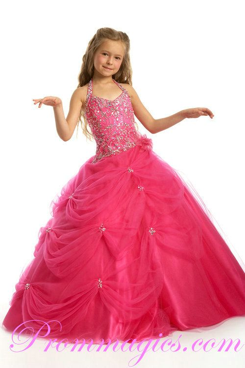 Beaded Shoulder Pick Up with Sequin Pink Girls Party Dresses ...