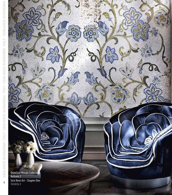 interior design ideas for your home - Best interior design, Mosaic wall and Blue chairs on Pinterest