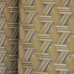 Based on straw marquetry and basketwork, this jacquard Tribu fabric has an interlacing graphic design of ribbons in a lively contemporary range of colours. ORDER A SAMPLE