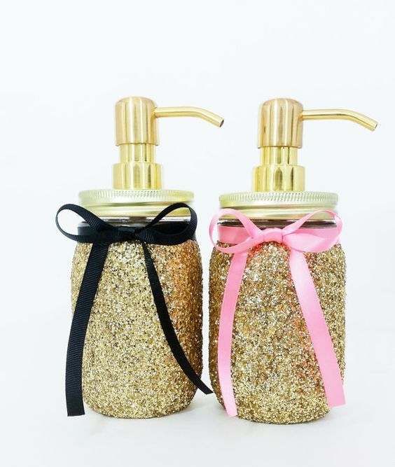 Mason Jar Soap Dispenser Bathroom Decor Pink and Gold by LimeAndCo