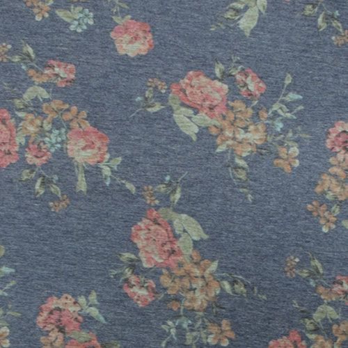 Vintage Pink Floral On Denim Spun Jersey Spandex Blend Knit Fabric Super Soft Brushed Texture Spun P Indie Sewing Patterns Fabric Stores Online Sewing Fabric