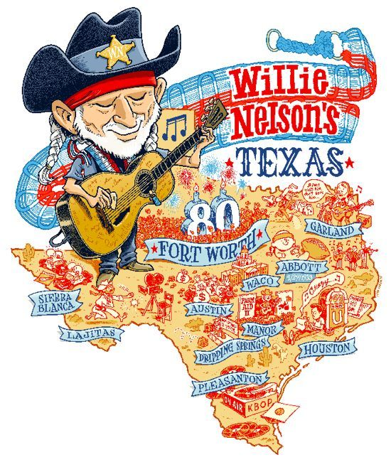 How Willie Nelson Won the Lone Star State: Illustrated Map