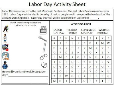 labor day activity worksheet free for the classroom pinterest activities worksheets and. Black Bedroom Furniture Sets. Home Design Ideas