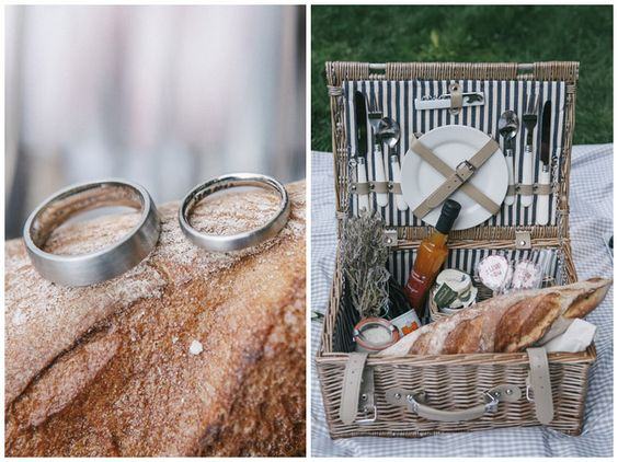 #Eheringe und rustikaler #Picknickkorb bei romantischem #Hochzeitspicknick im Grünen nach standesamtlicher Trauung in Berlin • rustical ring photos after a romantic picnic