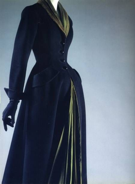 The fullest and most startling realization of Dior's New Look ideal, modeled on this fetishy equestrian template, appears in his 1947 riding-coat-like day coat Mystère.