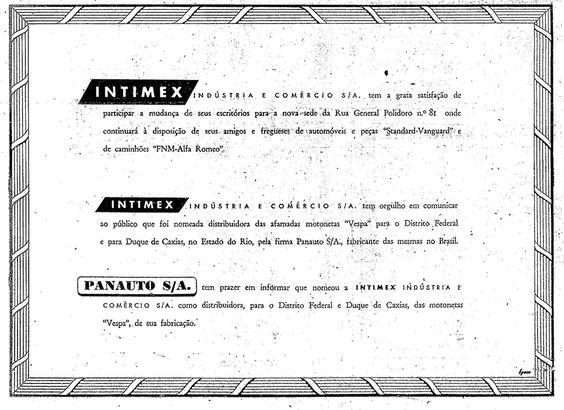 """Jornal """"O Globo"""" Rio de Janeiro 02 de Junho de 1958, Panauto, então fabricante da Vespa, anuncia um novo parceiro.Vespas na Estrada: Viajando de Vespa e Lambretta pela história das motonetas no Brasil"""