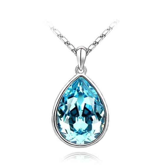 Österreichischen Kristall Blau Träne Halskette