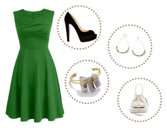 """""""Green Dress: Gold Accessories"""" by serendipityandgracellc on Polyvore featuring Christian Louboutin, Vanessa Mooney and Milly"""