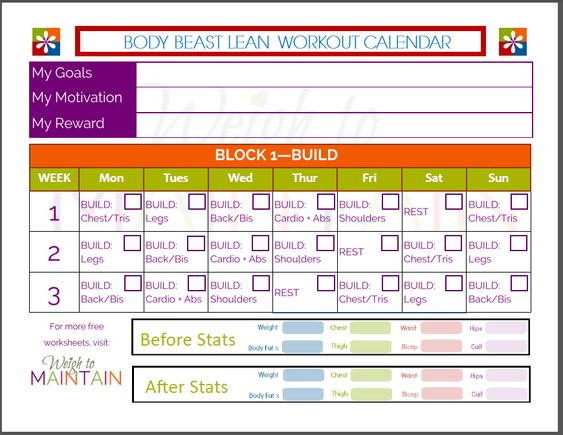 Printable Body Beast Lean Schedule Weigh To Maintain  Body