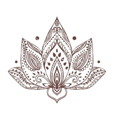 ornament beautiful card with yoga vector henna lotus tattoo by an vino on vectorstock flower. Black Bedroom Furniture Sets. Home Design Ideas