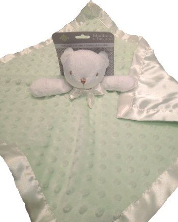 Blankets and Beyond Bear Light Green Minky Dots