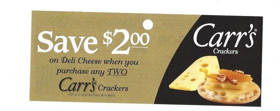 Deli Cheese Carr's Crackers - 12/26/2014 - (10) - $ 200 on TWO (2)