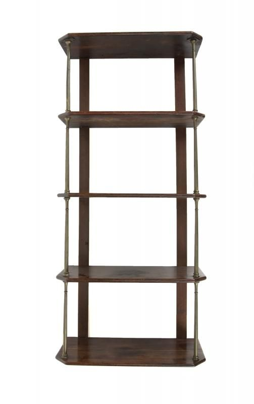 A wood curio five-tier shelf from Marilyn Monroe's New York home, located  at 444 East Street, gifted to her friend and personal masseur, Ralph  Roberts.
