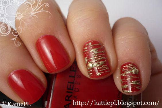 gold on red