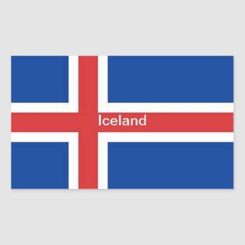 Flag Of Iceland Rectangular Sticker Zazzle Com Iceland Flag Print Stickers Flag