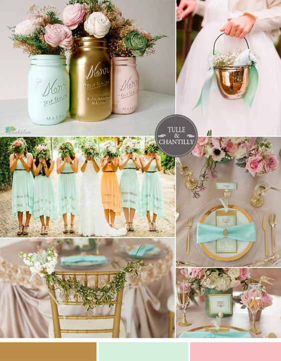 gold and mint wedding color ideas and bridesmaid dresses styles 2015