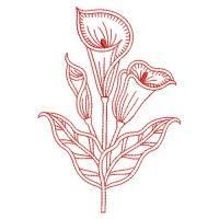 Redwork Calla Lily 2 - Wind Bell Embroidery | OregonPatchWorks