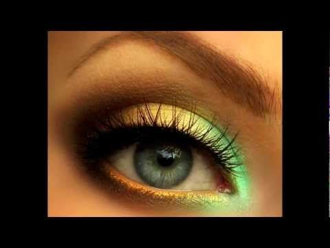 Summer Makeup Tutorial: mint green and gold smoky eye