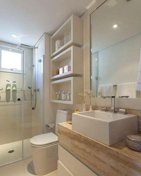 Linda inspiração para banheiros pequenos. 💕 (Projeto não autoral)