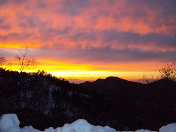 Vibrant sunset and snow in the San Bernardino Mountains.