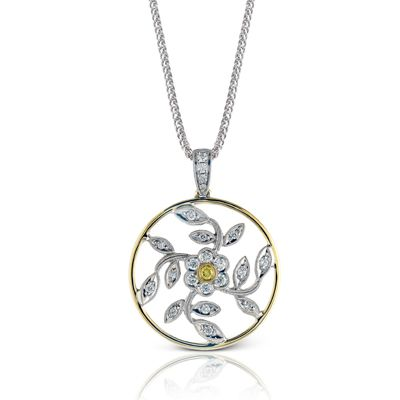 Flower Collection - This glimmering 18K white and yellow  pendant is comprised of .29ctw round white Diamonds and .03ctw round yellow Diamonds. - MP1000