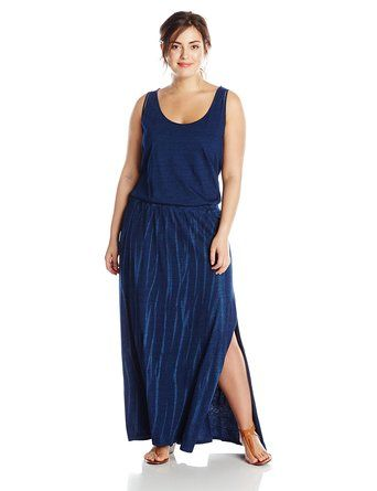 DKNY Jeans Women's Plus-Size Knit Denim Maxi Dress with Mesh - Summer Dresses #fashion #summer2015: