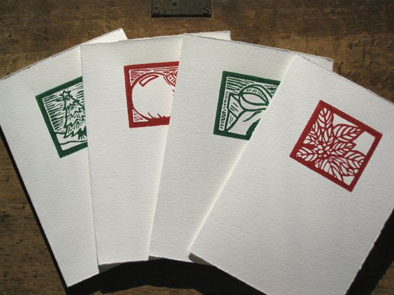 Set of 4 Linocut Christmas Cards red and green by jessnielsen