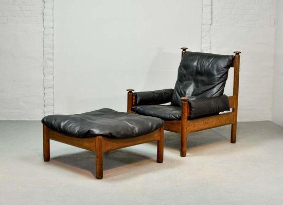 Scandinavian Black Leather Lounge Chair Ottoman 1960s Scandinavian Lounge Chair Leather Lounge Chair Leather Lounge