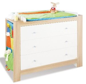 Komplett Kinderzimmer SIGIKID groß, 3-tlg. (Kinderbett, Wickelkommode breit und 2-türiger Kleiderschrank), Nussbaum gekalkt/Cremewei