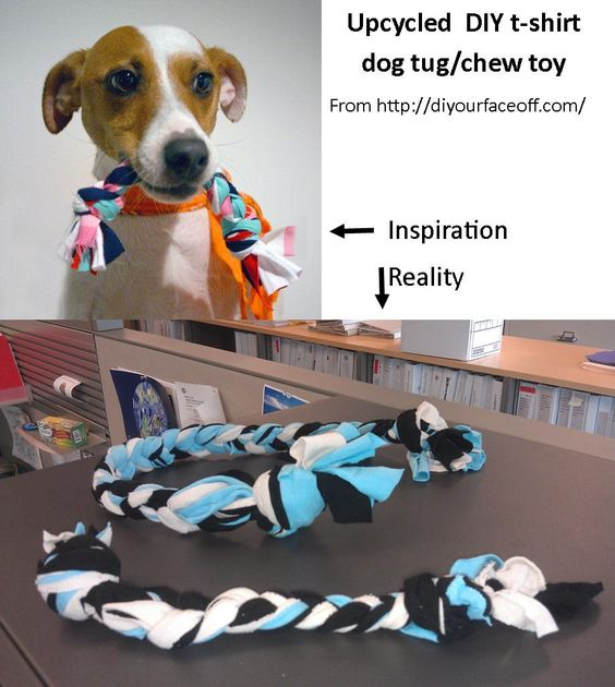 """Upcycled t-shirt dog chew/tug toy: This was a very easy craft, though I think the """"rope"""" could have been thicker (add more strips of fabric).  We'll see how long they last with the actual dogs."""