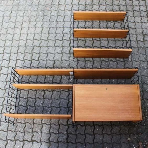 original nisse string regal einheit schweden ladder shelf 50er 60er vintage zimmerideen. Black Bedroom Furniture Sets. Home Design Ideas