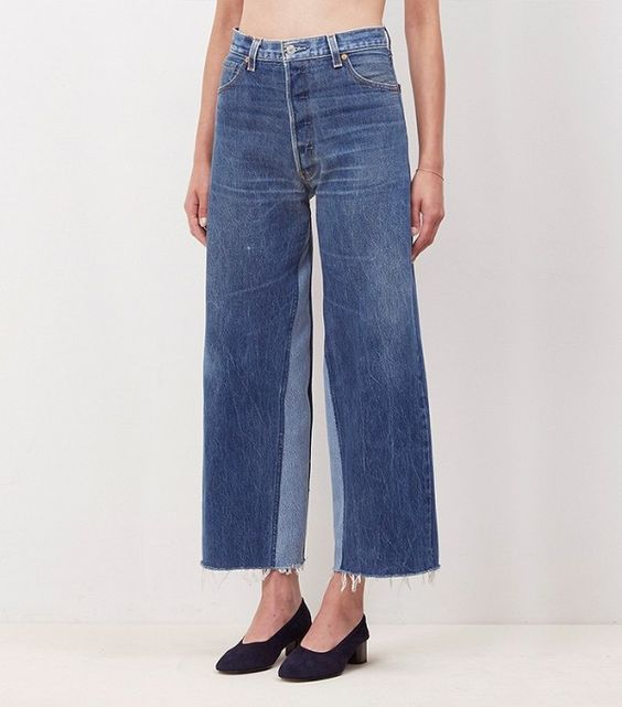 Re/Done Denim Patch Wide Leg Jeans