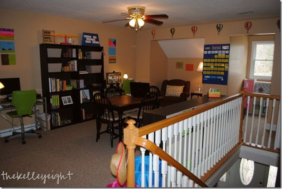 A school room with lots of storage: Homeschool Rooms, Homeschool Ideas, Area Homeschool, Home School Rooms, Beautiful Homeschool, Homeschool Mom, Bonus Room, Homeschool Classroom
