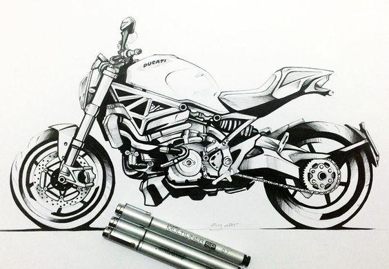 #ducati #monster #1200s #design #sketch #sketchbook #idsketching #industrialdesign #copic #marker #illustration #motorcycle by berkayazc